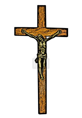 Photo for An abstract sketch of  Jesus Christ on the cross isolated on white - Royalty Free Image
