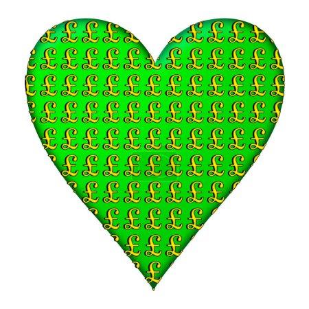 Ein Herz-Design in Grün mit einem sich wiederholenden Muster aus goldenen britischen Pfund-Zeichen, isoliert auf Weiß, das auf eine Liebe zum Geld hindeutet