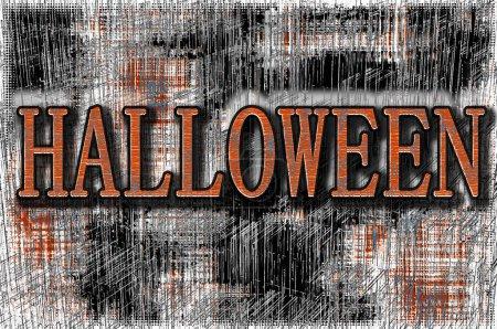 Photo pour Un poster d'Halloween avec fond grunge rayé en orange et noir en illustration 3D - image libre de droit