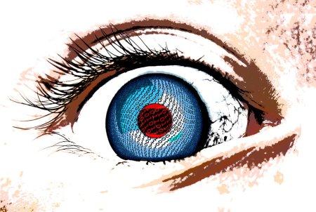 Photo pour Une icône artistique de reconnaissance des yeux humains abstraite avec conception de flux de données - image libre de droit