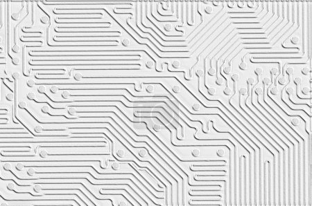Photo for An embossed printed circuit board design as a white texture for use as a background - Royalty Free Image
