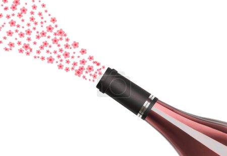 Photo pour Gros plan d'une bouteille de vin de rose avec bouquet floral isolé sur fond blanc - image libre de droit