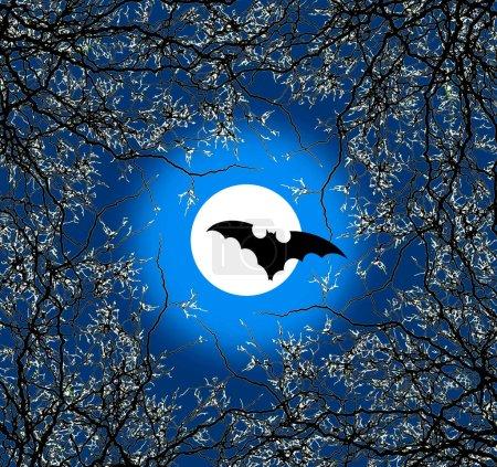 Photo pour Une affiche fantasmagorique d'Halloween avec des branches de chauve-souris, de lune et d'arbres en bleu - image libre de droit