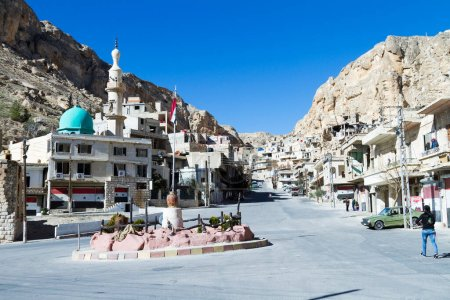 Photo for Christian town of Maaloula, Syria, where people still speak Aramaic, the language of Jesus - Royalty Free Image