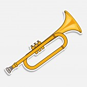 Horn - music wind instrument Musical equipment Sticker isolated on white background Vector illustration