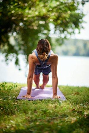Photo pour Fit brune caucasienne faisant planche inversée sur tapis dans la nature le matin. Concept de pratique du yoga . - image libre de droit