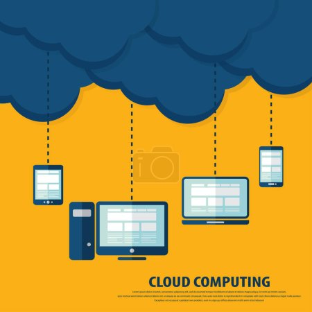 Illustration for Cloud computing infographics. flat design style - Royalty Free Image