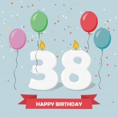 38 years anniversary greeting card with candles, confetti and balloons.