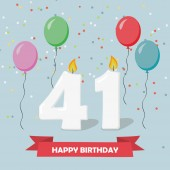 41 years selebration. Happy Birthday greeting card with candles, confetti and balloons.