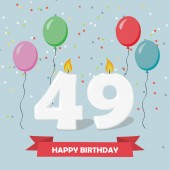 49 years selebration. Happy Birthday greeting card with candles, confetti and balloons.