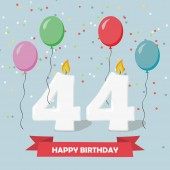 44 years selebration. Happy Birthday greeting card with candles, confetti and balloons.