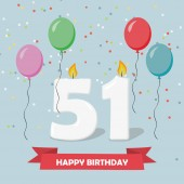 51 years selebration. Happy Birthday greeting card with candles, confetti and balloons.