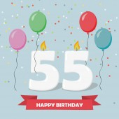 55 years selebration. Happy Birthday greeting card with candles, confetti and balloons.