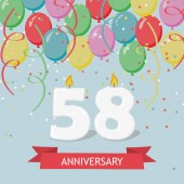 58 years selebration. Happy Birthday greeting card with candles, confetti and balloons.