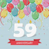 59 years selebration. Happy Birthday greeting card with candles, confetti and balloons.