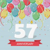 57 years selebration. Happy Birthday greeting card with candles, confetti and balloons.