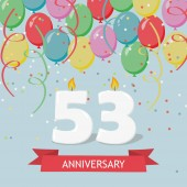 53 years selebration. Happy Birthday greeting card with candles, confetti and balloons.