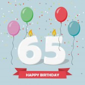 65 years selebration. Happy Birthday greeting card with candles, confetti and balloons.