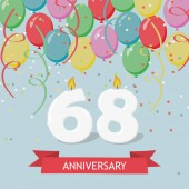 68 years selebration. Happy Birthday greeting card with candles, confetti and balloons.