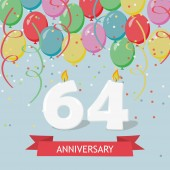 64 years selebration. Happy Birthday greeting card with candles, confetti and balloons.