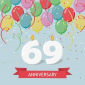 69 years selebration. Happy Birthday greeting card with candles, confetti and balloons.