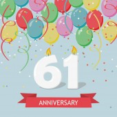 61 years selebration. Happy Birthday greeting card with candles, confetti and balloons