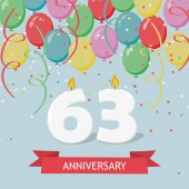 63 years selebration. Happy Birthday greeting card with candles, confetti and balloons.