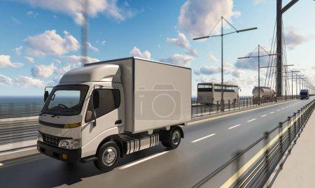 Photo pour Camion de livraison avec d'autres véhicules commerciaux sur le pont - image libre de droit