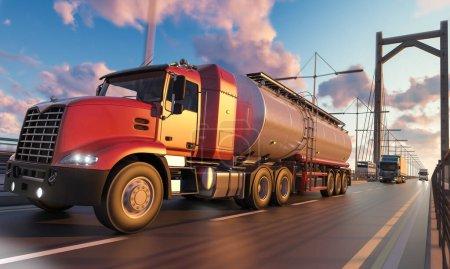 Foto de Camión cisterna con cabina roja y más en movimiento sobre el puente - Imagen libre de derechos