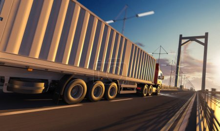 Photo for Side View of a Semi Trailer Container Truck over the Bridge - Royalty Free Image