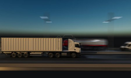 Photo for Container Truck Moving on the Highway at Night - Royalty Free Image