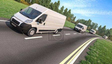 Photo for Several Delivery Vans on the Asphalt Road - Royalty Free Image