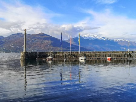 Photo for Landscape of the Lake Maggiore and the old harbor of Luino - Royalty Free Image