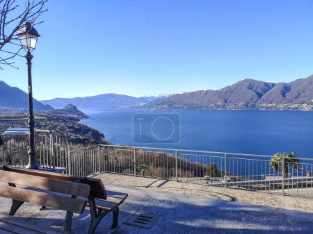 Photo for Wide panorama of the Lake Maggiore from the belvedere of Brezzo di Bedero - Royalty Free Image