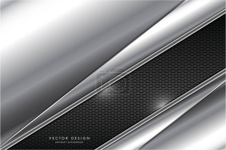 Illustration for Metallic of gray with carbon fiber dark space technology concept vector illustration - Royalty Free Image