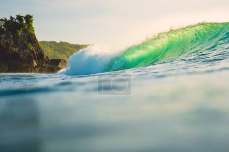 Barrel wave in ocean. Breaking wave for surfing in Oahu