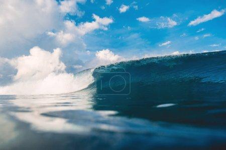 Barrel wave in ocean. Breaking wave for surfing in Oahu