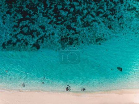 Photo for Top view of tropical beach with turquoise sea water and reef, aerial drone shot - Royalty Free Image
