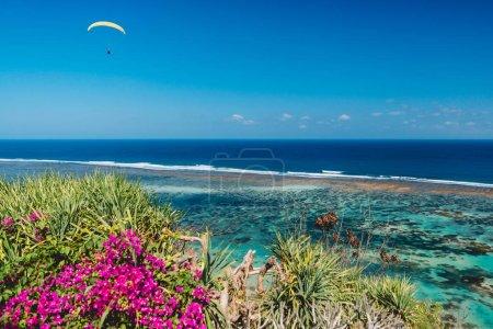Vue panoramique sur la plage tropique et eau de mer tranquille avec parapente dans le ciel