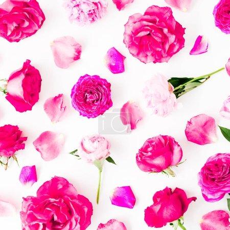Photo pour Motif de roses roses, les pétales et les pivoines sur fond blanc. Vue plate Lapointe, haut. Texture de fleurs. - image libre de droit