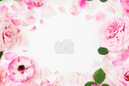 Photo for Floral frame with roses flowers and anemones on white background. Flat lay, top view. Pastel flowers - Royalty Free Image