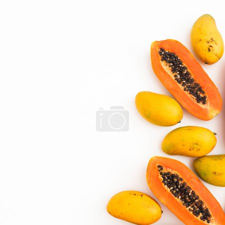 Photo for Fruits frame of sweet papaya and mango fruits on white background. Flat lay. Top view. Tropical fruit concept - Royalty Free Image