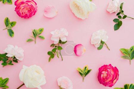 Photo pour Composition de motifs floraux avec des fleurs roses et feuilles sur fond rose. Vue plate Lapointe, haut. Saint-Valentin - image libre de droit