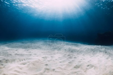 Photo for Blue ocean in the deep with white sandy bottom and underwater sun rays in Hawaii - Royalty Free Image