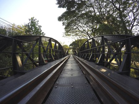 Photo for Summer trees rail road bridge - Royalty Free Image