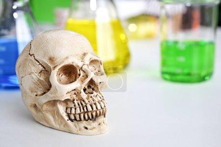 Photo pour Tubes à essai de laboratoire scientifique. crâne et bécher chimique. Substances volatiles et crâne en laboratoire. glasswware avec des liquides de différentes couleurs. - image libre de droit