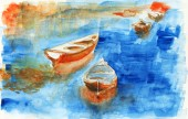Watercolor boat on the lake painted on the paper