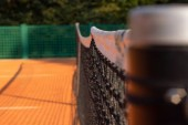 close-up tennis net on court