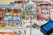 Watercolor illustration of city town cityscape architecture
