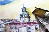 watercolor close-up Illustration on paper. Colorful paintaing background. Texture image. old city poland watercolor paint. watercolor close-up Illustration on paper.